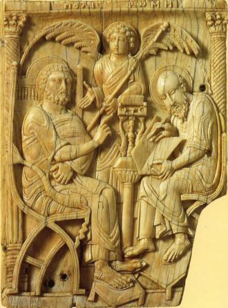 Der Geist Roms (Polis Romii) diktiert Petrus, Petrus diktiert Markus. 1075-1100. Süditalienisches Elfenbeinrelief. Höhe 13,5cm. London. Victoria & Albert Museum, Inv.270-1867.