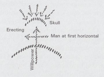 Zeichnung der Orientierung des Menschenwesens im dreidimensionalen Raum. Von Rudolf Steiner.